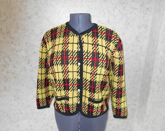 80s Yellow Black Checked Plaid Cardigan Sweater Button Down Retro 1980s Hipster Boho Bright Colorful Rad Fun Sweater Womens Large