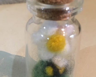 Tiny Needle Felted Flower with bumble Bee Ornament Decoration Needle Felting