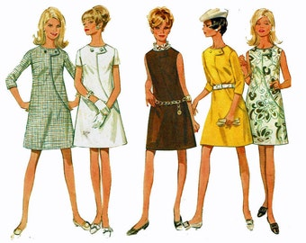 1960s Size 14 Bust 36 A-line Mod Dress Vintage Sewing Pattern Butterick 4818 3/4, Short Sleeves or Sleeveless