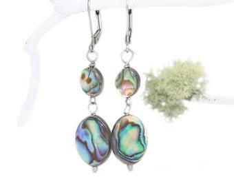 Paua Shell Drop Earrings, Naturally Vibrant New Zealand Abalone Shell