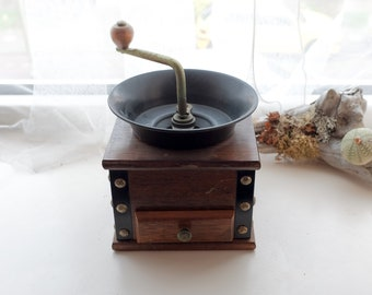 Vintage French wooden coffee grinder circa 1950's