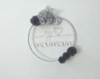"Name personalized, wall decor, decorative Knitting yarn, mother's day, ""I love you MOM"""