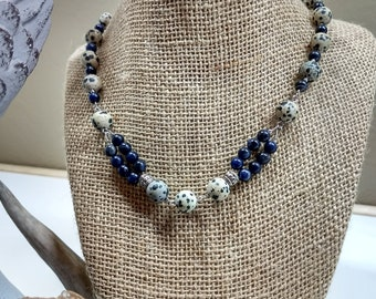Dalmatian jasper and sodalite beaded necklace