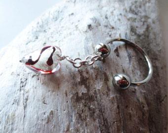 Lampwork keychain. Silver key ring. Silver horseshoe key ring. Silver red heart. Heart key ring. Heart key chain. Heart purse charm.