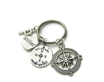 Not All Who Wander Are Lost Brother Keychain, Compass Keychain, Brother Keychain, Keychain For Brother, Travel Keychain, Personalized