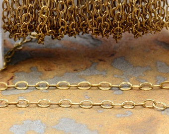 Small Etched Cable 3x1.5mm Chain Antique Gold