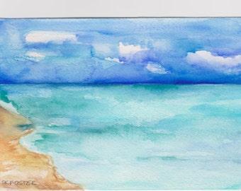 Aruba seascape watercolors painting original, 4 x 6 inches, Original painting, ocean art, beach watercolor, SharonFosterArt