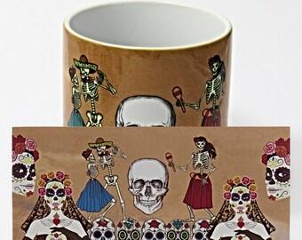 Sugar skulls, Sugar Skull Bride, Coffee Mug, Day of the Dead Mug, Sugar Skull Gift.