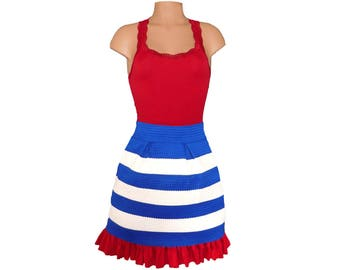 Red + Blue Stripe Scuba Skirt