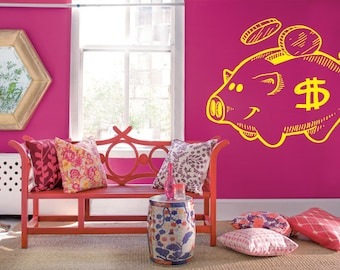 Wall Decal Sticker Bedroom piggy bank money save coins kids 112b