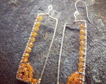 Asymmetrical Orange Carnelian Earrings