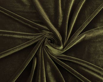 Princess OLIVE GREEN Polyester Stretch Velvet Fabric by the Yard, Half Yard, Sample - 10001
