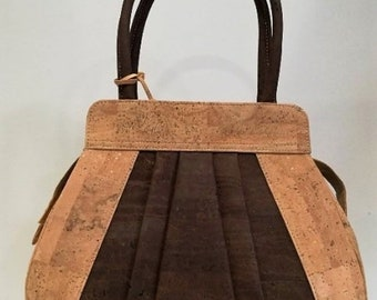 Cork Handbag with Designs - Fine Leather Cork Bag - Natural Cork Purse Eco-friendly Material