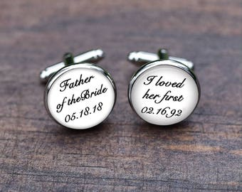 Father of the bride Cufflinks, I loved her first cufflinks, mens jewelry, Father Dad tie clips, mens accessory, Wedding For daddy
