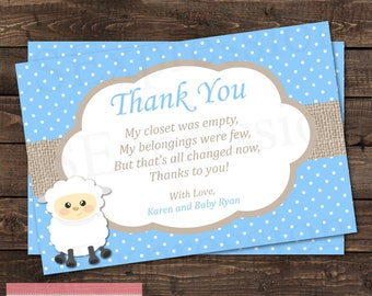 Cute Little Lamb Blue Baby Shower Thank You Card