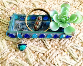 Bohemian Glass Mosaic Tray Sea Glass 70's Boho Glass Art