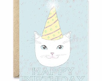 Happy Birthday Hat - Cat Greeting Card
