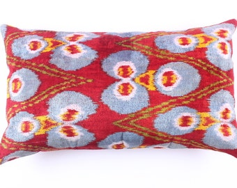 Handmade, ikat, red silk velvet Pillow Cover, red - 24,40x16,40 inch