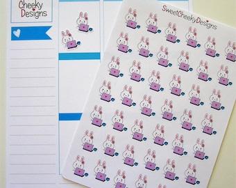 Cute Bunny Work Stickers!  Perfect for Erin Condren Life Planner, MAMBI/Happy Planner, Plum Planner, Etc.