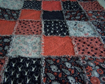 Rag Quilt - Woodland Rag Quilt - Navy and Coral Rag Quilt - FREE SHIPPING - Rag Quilt - Rag Throw - Lap Quilt - Rag Lap Quilt - Crib Quilt