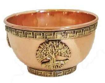 "Tree Of Life Ritual Offering Bowl 3"" Copper & Brass Wicca Pagan Ritual Ceremonial Altar Free Domestic Shipping!"