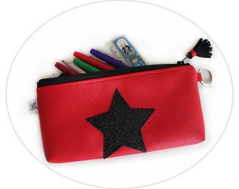 Red Vegan Leather Pencil Make up Brushes Case - Black Glitters Star & Tassel