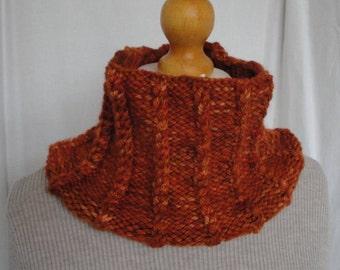 orange chunky cowl, knitted neckwarmer, merino wool cowl, burnt orange cowl, cowl with mini-cables, chunky neckwarmer, cabled cowl, snood