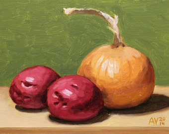 Onion and Red Potatoes Vegetable Painting still life by Aleksey Vaynshteyn