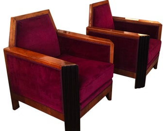 Vintage Pair of Original Art Deco French Armchairs, 1930s