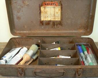 Art box, Rustic Metal box, treasure box, Mohawk fishing box, rusty, Art bin, Rusty patina fishing box