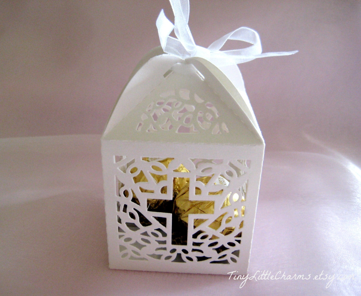 12 holy cross white favor boxes for christening favors