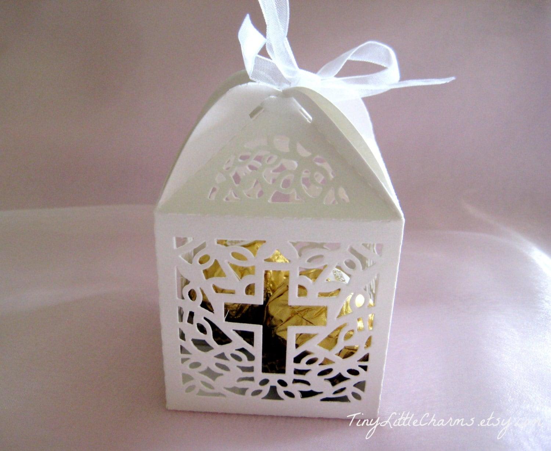 12 Holy Cross White Favor Boxes for Christening Favors