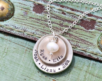 Mommy Necklace Sterling Silver Mother Gift • Grandma Necklace Family Gift Grandchildren • Large Family Children Layered Name
