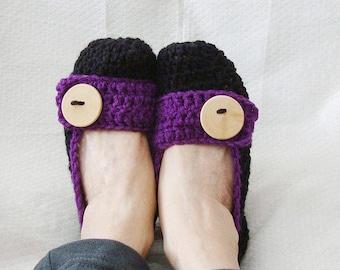 Crochet Slippers Womens Flats Black  and Purple