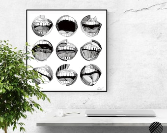 Smile. Wall art. Art print. High quality giclée print. Signed by designer. Illustration.