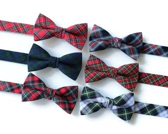 Boys Tartan Plaid Bow Ties~Boys Bow Tie~Boys Plaid Bow Ties~Cotton Bow Tie~Church Tie~Winter Wedding~Fall Wedding~Ring Bearer~Christmas Tie