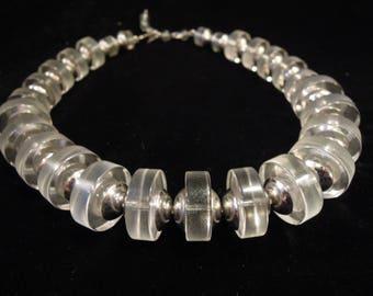 50's 60's Fabulous Clear Lucite & Chrome Space Age VENDOME Chunky Necklace ~ Atomic Collar Bib Choker Pre Mod 1950's 60's