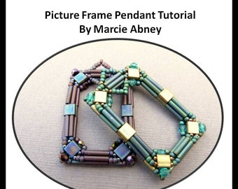 Beadweaving Tutorial - Picture Frame Beadwoven Pendant Tutorial Instant Download