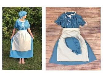 Complete Outfit - Girls Size 10/12 Pioneer Trek Colonial Frontier Prairie Pilgrims Renaissance Reenactment Civil War Dress Costume