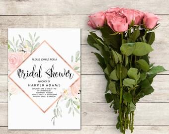 Bridal Shower Invitation, Rose Gold Floral, Pink Floral, Bridal Brunch,  Watercolor Floral, Pink Flowers, Baby Shower, Baby Shower Girl