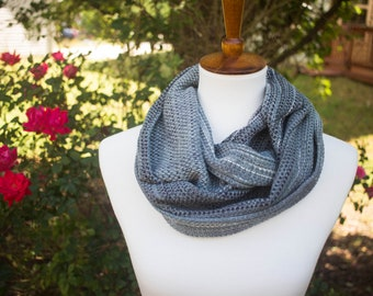 Greys Black Monochrome Handdyed Handwoven Infinity Double Loop Scarf