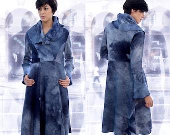 Fitted Wool coat, Wool Trench Coat, Blue Coat, Long Warm Coat, Blue Felt Coat, Ana Livni, Blue Felt Coat, Blue Winter Coat, Long Cardigan