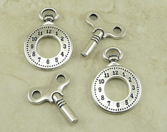 2 Pair TierraCast Clock Charm and Winding Key Mix Pack > Fine Silver Plated Lead Free Pewter