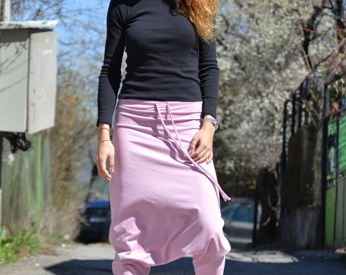 Cotton Harem Pants, Loose Baby Pink Pants, Casual Trousers, Ladies Pants, Oversize Drop Crotch Pants, Maxi Pants by SSDfashion