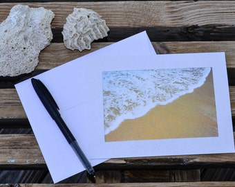 Notecard - Waves - Ocean Beach Nautical Seaside Coastal Lace - 5 x 7 Card Blank Inside Stationary - Art - Writing