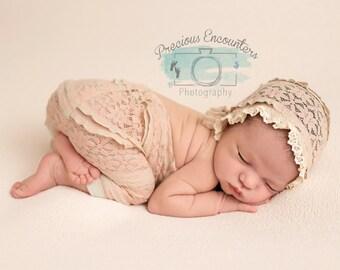 NEWBORN BABY BONNET, dusty pink stretch lace baby bonnet,newborn, ivory lace trim, handmade, baby photo prop,  photography prop