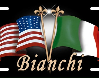 USA Italian Flags Auto License Plate Personalize Gifts Any Name  Or Text Many Color Backgrounds America Italy Flag