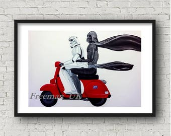 Star Wars, Darth Vader and Storm trooper on a Scooter Fine art Giclee print. 'DARTH VESPA'