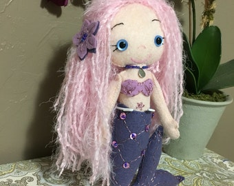 Bubblegum mermaid felt doll with stand