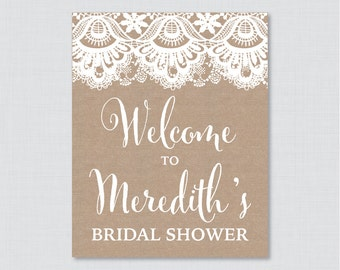Burlap and Lace Bridal Shower Welcome Sign Printable - Rustic Bridal Shower Customizable Sign - Burlap and Lace Bridal Shower Decor 0003
